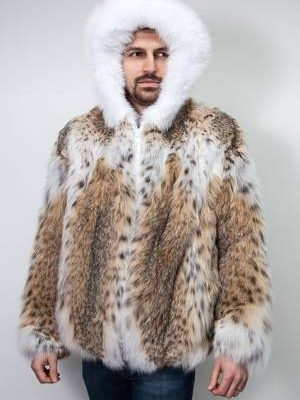American Lynx Men's Hooded Bomber Fur Jacket
