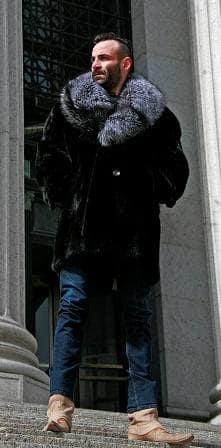 Marc Kaufman Furs Presents a ranch mInk mens fur stroller with silver fox collar from Marc Kaufman Furs New York,Argentina,United Kingdom,Austria,Denmark,Norway,Australia,Finland,Saudi Arabia,Oman,Kuwait,Jordan,Egypt