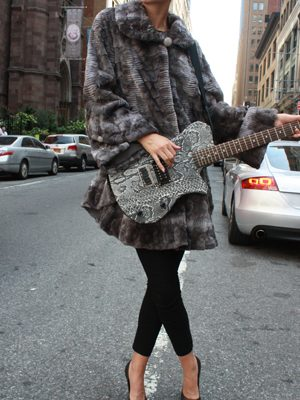 Grey Sculptured Mink Stroller Playing Guitar NYC