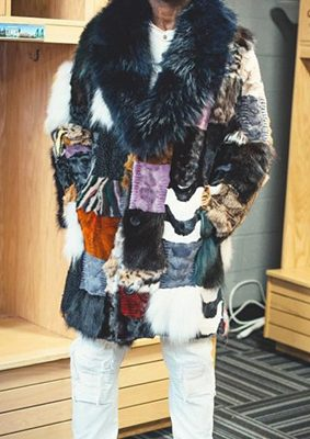 Gucci Mane wears a Marc Kaufman Furs original  Patchwork Throw Back mink fur