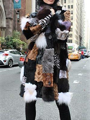Patchwork Colored Mink Fox Fur Stroller