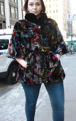 Plus Size Multi Colored Mink Poncho Belt