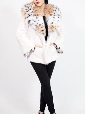 White Mink Stroller Lynx Hood