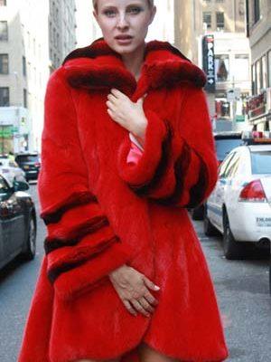 Red Mink Stroller Red Chinchilla Collar Cuffs