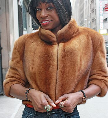 Cognac Sheared Mink Fur Jacket