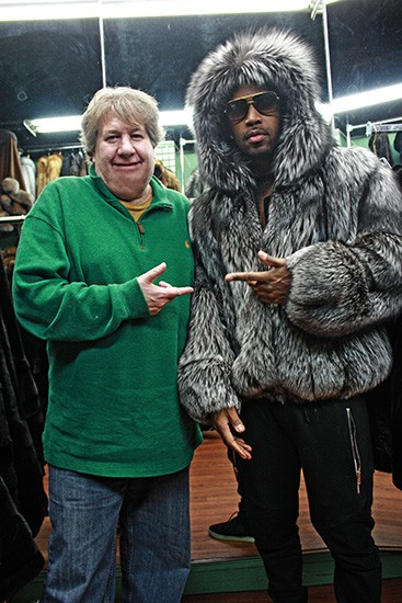 Safaree Samuels in a Silver Fox Fur Bomber with hood from Marc Kaufman Furs