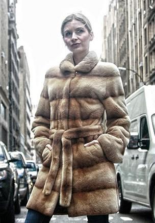 Beige Sheared Horizontal Mink Fur Stroller with Belt 5112