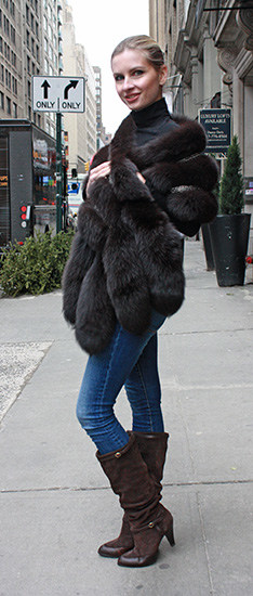 Brown Fox Fur Shawl with Tails
