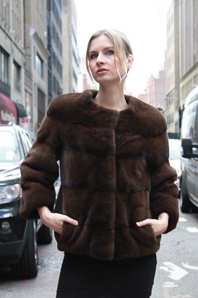 Demi Mink Horizontal Fur Coat
