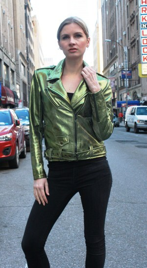 Green Iridescent Leather Motorcycle Jacket
