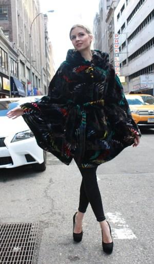 Fabulous Mink Poncho Hood Multi Colored