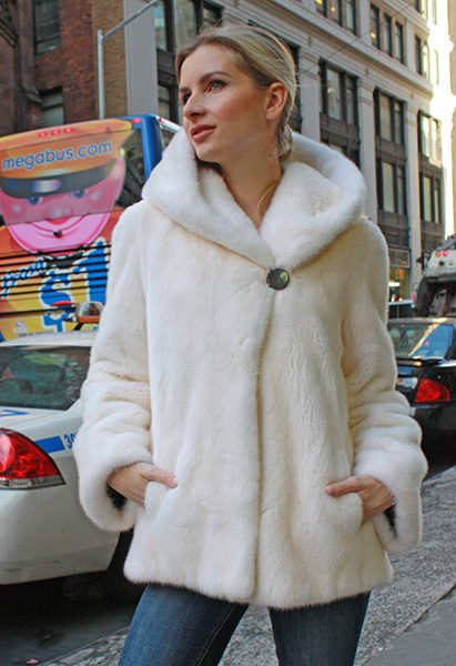 Ivory Mink Hooded Fur Coat
