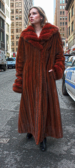 Red Mahogany Full Length Mink Fur Coat