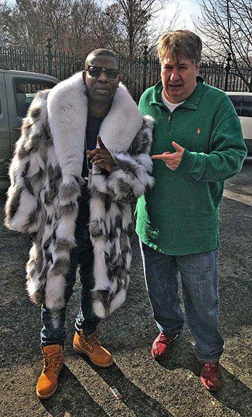 Uncle Murda, White fox fur coat, silver fox fur coat, marc kaufman furs, furrier, fur rental, fur storage, celebrities in fur, celebrity fur coats