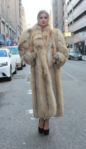 Golden Island Fox Coat Shawl Collar