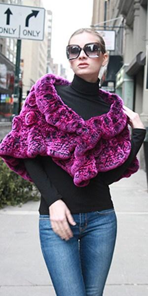 Fuchsia Rex Rabbit Knit Fur Capelet