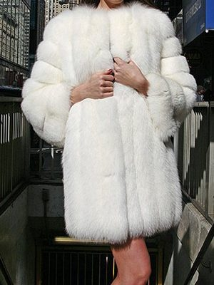 White Fox Fur Stroller