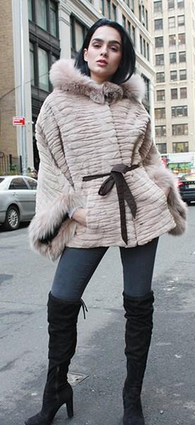 Beige Sheared Grooved Beaver Fur Jacket with Hood