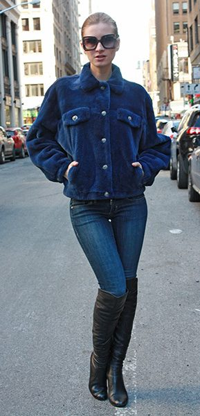 Blue Sheared Mink Fur Jacket