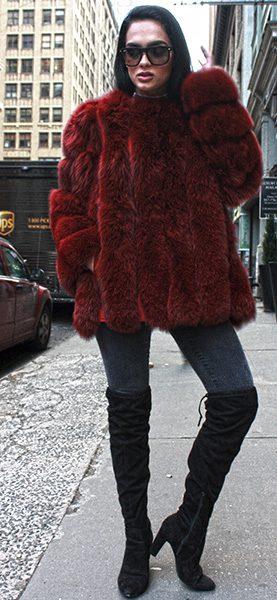 Burgundy Fox Fur Jacket