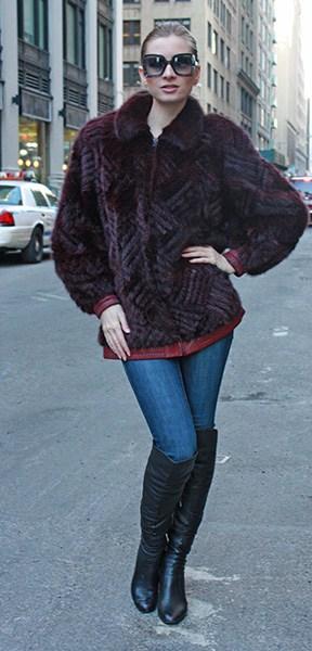 Burgundy Mink Fur Jacket with Reversible Leather