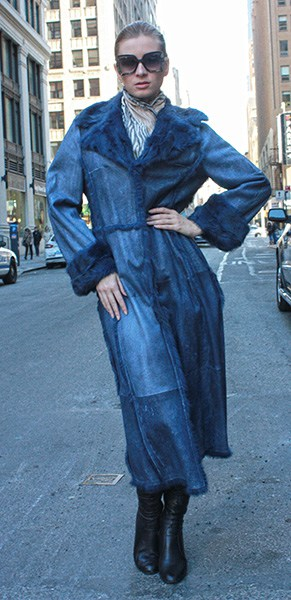 Denim Blue Double Faced Leather Trench Coat