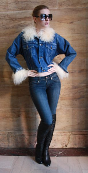 Denim Jacket with Tibetan Lamb Fur Collar and Cuffs