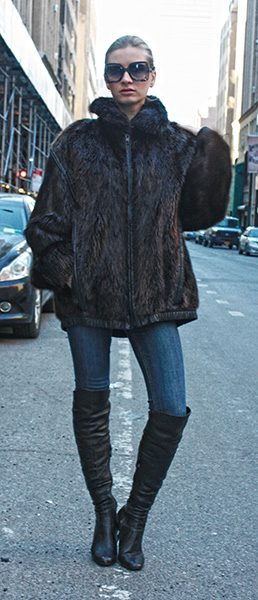 Long Haired Beaver Fur Jacket Size 6-8