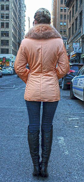 Orange Micro Fiber Jacket with Red Fox Fur Collar