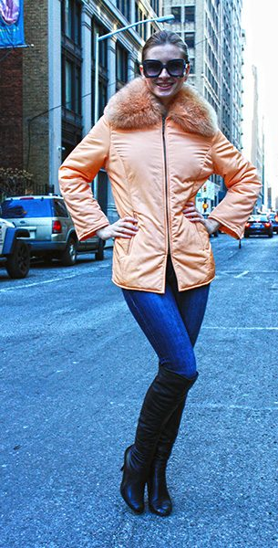 Orange Micro Fiber Jacket with Red Fox Fur Collar