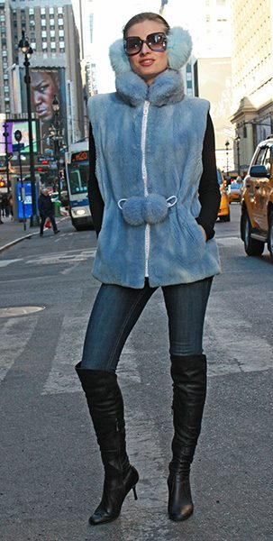 Powder Blue Sheared Mink Fur Vest