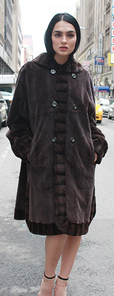 Reversible Steel Grey Micro Fiber Coat with Sheared Grey Mink Fur