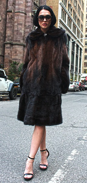 Two Toned Mink Fur Stroller with Hood