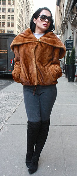 Whiskey Mink Fur Jacket with Hood