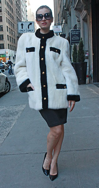 White Sheared Mink Fur Jacket with Black Fur Trim