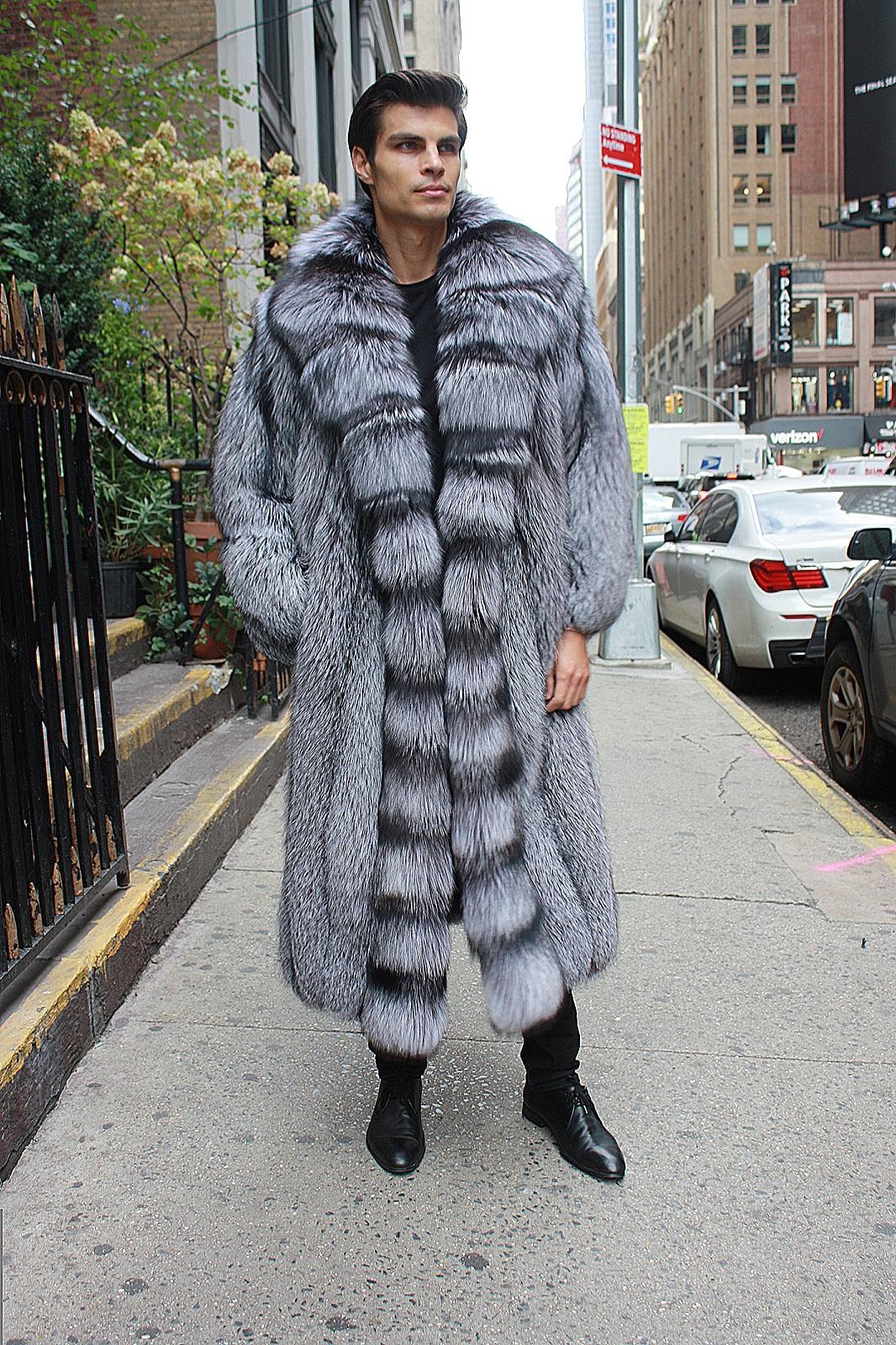 men's silver fox coat