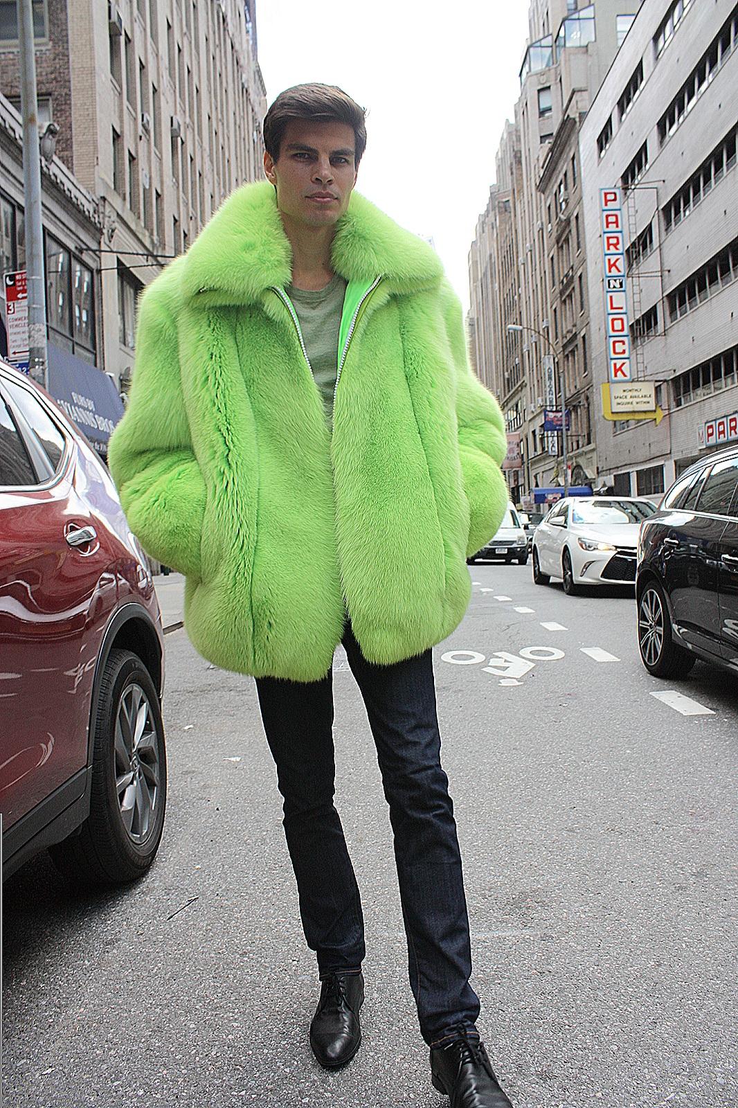 men's fox fur jacket