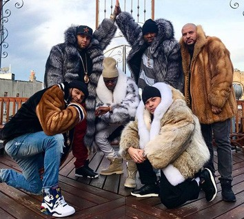 50 Cent In Furs Coat Uncle Murda and Crew