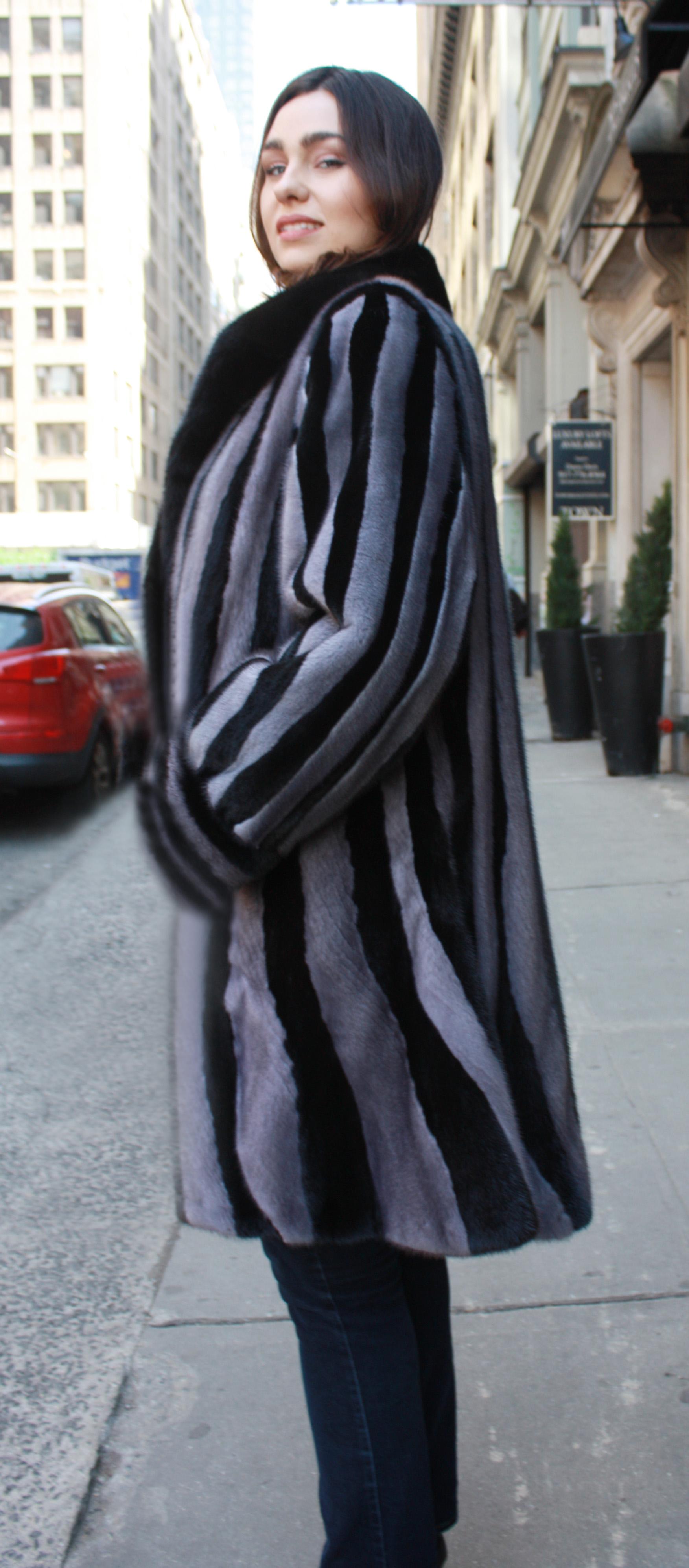 Black and Grey Mink Fur Princess Stroller Coat