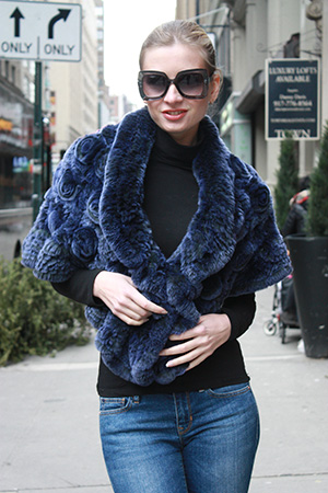 Blue Rex Rabbit Knit Shrug
