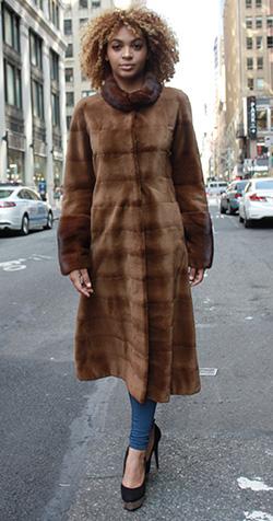 Brown Sheared MInk Fur Coat