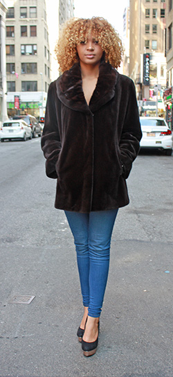 Brown Sheared Mink Jacket