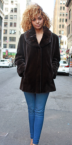 Brown Sheared Mink Jacket