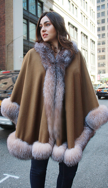 Brown Cashmere Cape With Crystal Fox Fur