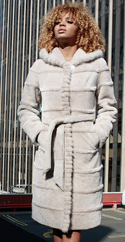 Cream Colored Shearling Fur Coat with Mink Fur Trim and Hood