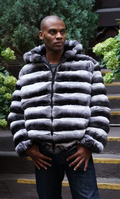 Mens Chinchilla Jacket Horizontal Bomber