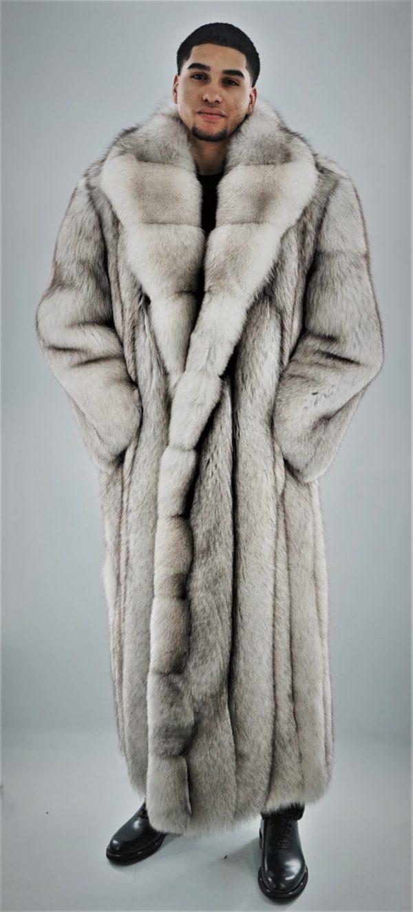 Men's Blue Fox Coat Full Length
