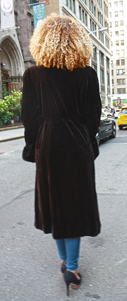 Dark Brown Sheared Mink Fur Coat