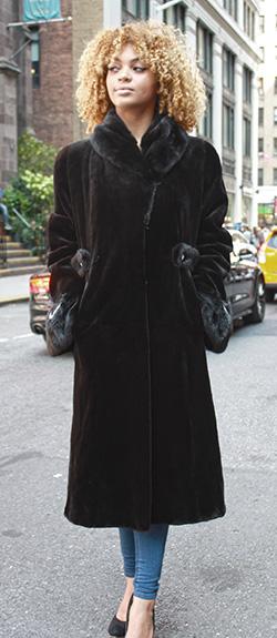 Dark Brown Sheared Mink Fur Coat