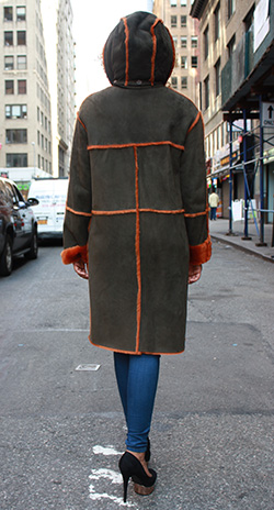 Dark Olive Green Shearling Fur Coat with Dyed Orange Fur Trim and Lining